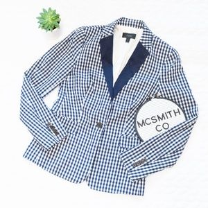 J. Crew | Puckered Gingham Blazer with Navy Lapel